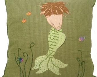 Throw Pillow Cover, Mermaid 24x24, Christmas Gift, Handmade Decorative, Brown Hair,Seaweed Green Body-Tail,  Green Beading MDPC101