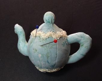 Pincushion, Teapot Pincushion, Teapot, Pin Cushion, Teapot Pin Cushion, Sewing Accessories, Pins, Pin Organizer, Walnut Shells, CCTEA418