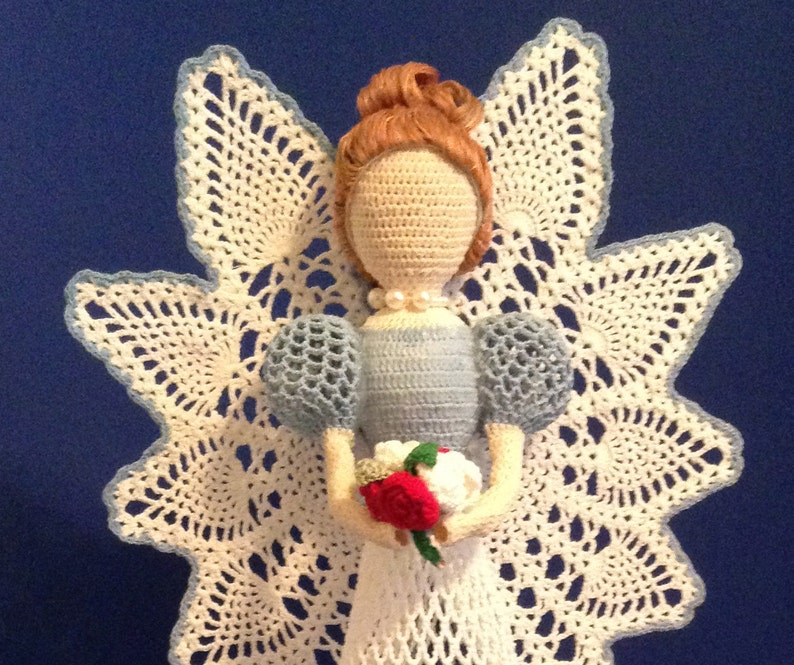 Angel Christening,Birthday Gift Mother/'s Day Gift Angel Decoration Decorative Angel Gift  A600 Crochet Angel White Tall Crochet Angel