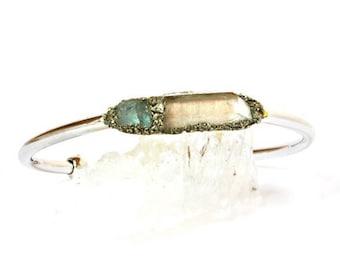 Clear Quartz Raw Crystal and Aquamarine Bracelet Jewelry