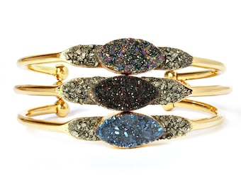 Gift Wife Jewelry, Crystal Gift Jewelry, Gold Gift Jewelry, Druzy Stone Jewelry, Stone Druzy Jewelry, Druzy, Gold Druzy, Wife Bracelet Gift