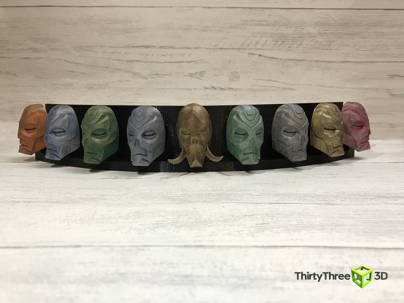 Skyrim  9 Dragon Priest Masks Display 3D Printed Unofficial image 0