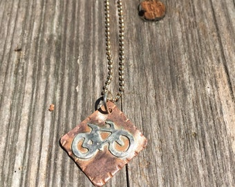Road Bike Sign copper & sterling silver Necklace