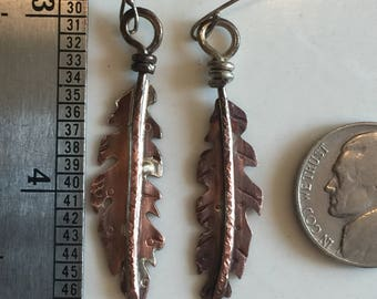 Copper feather earrings with sterling silver spine - and sterling silver ear wires - handmade!