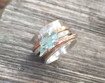 Raw Aquamarine spin Ring with Rose Gold Fill spinners - sterling silver band - handmade to order