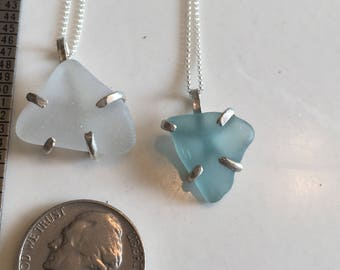 Lake Michigan seaglass necklace - handmade with genuine natural seaglass - sterling silver