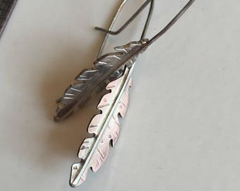 Sterling silver & rose gold fill feather earrings- handmade with sterling silver ear wires