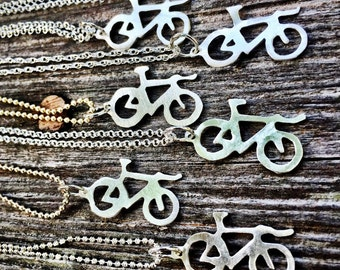 Sterling Silver Time Trial Bicycle charm Necklace