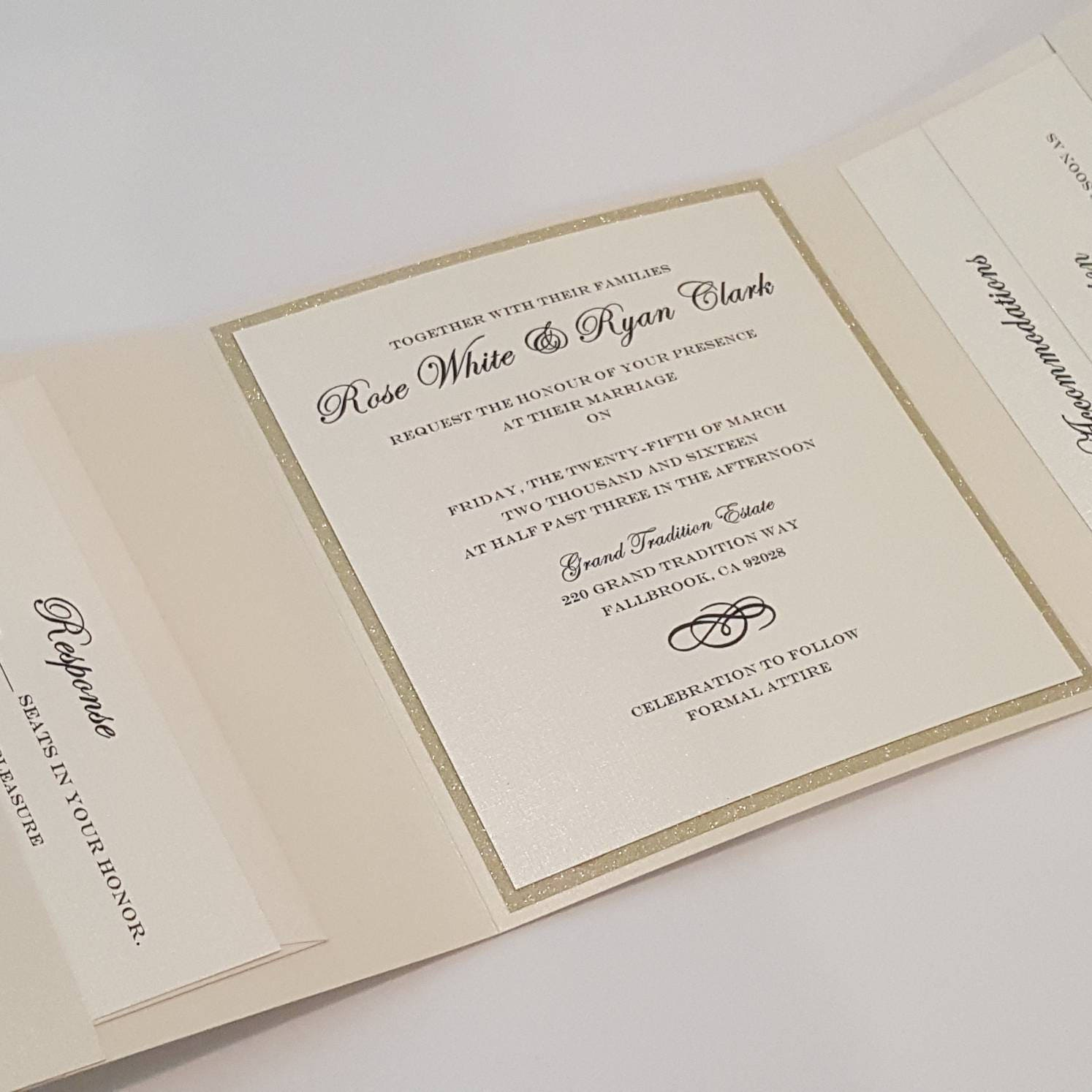 Trifold Wedding Invitation Suite With 3 Inserts And