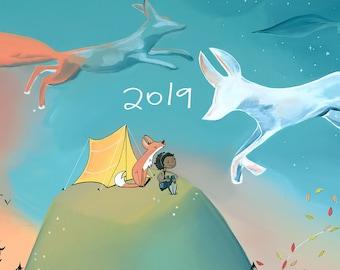 2019 Wall Art Calendar - Cloud Foxes Cover