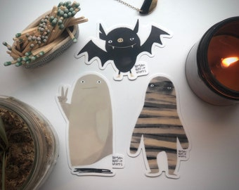 NEW! Spooky Halloween Stickers -3 pack- Mummy - Bat - Peace Ghost
