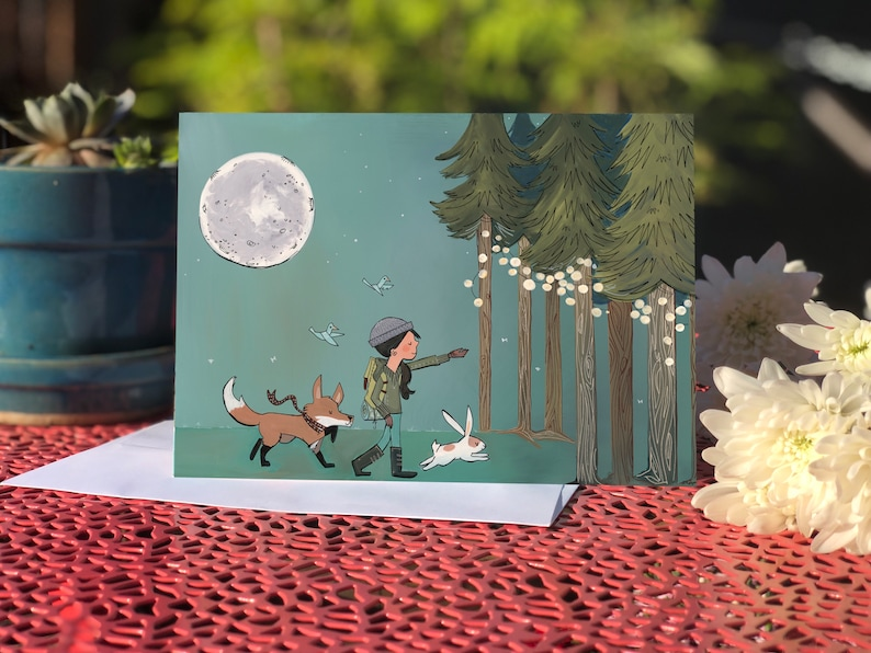 Blank card  Greeting card  Lights in the forest image 0