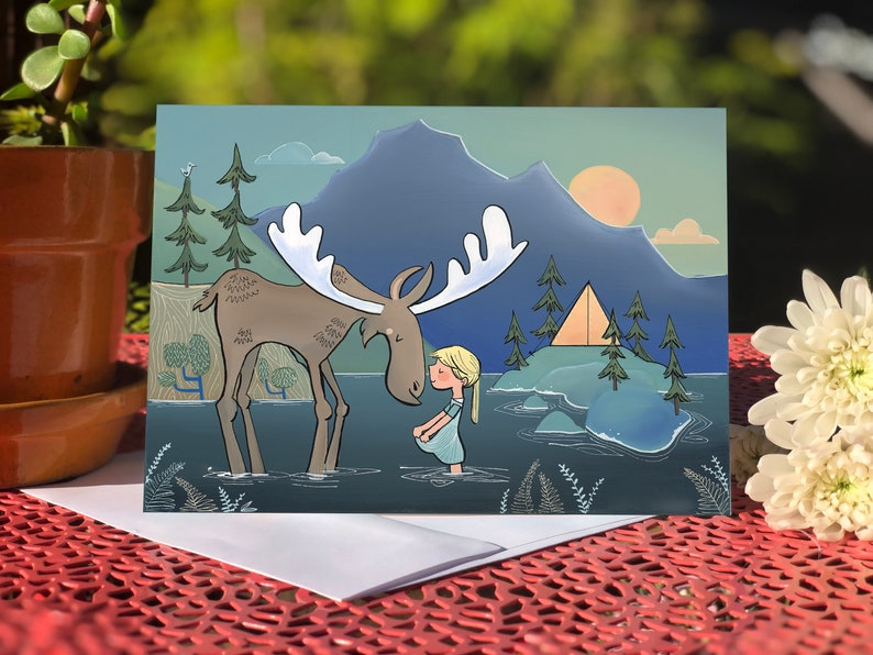 Blank card  Greeting card  Moose & Girl camping image 0