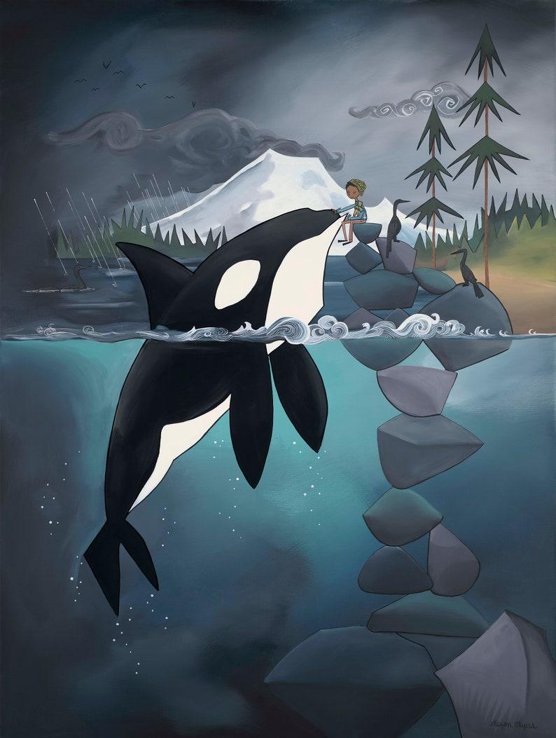 Fine Art Print  Adventure Boy and Gentle Orca image 0