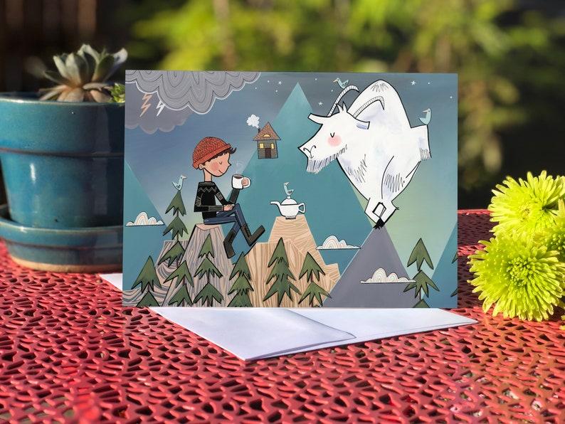 Blank card  Greeting card  Mountain Goat image 0