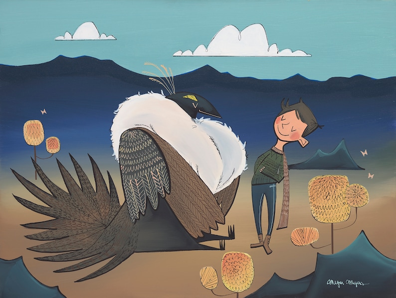Fine Art Print  The Greater Sage Grouse and Adventure Boy image 0