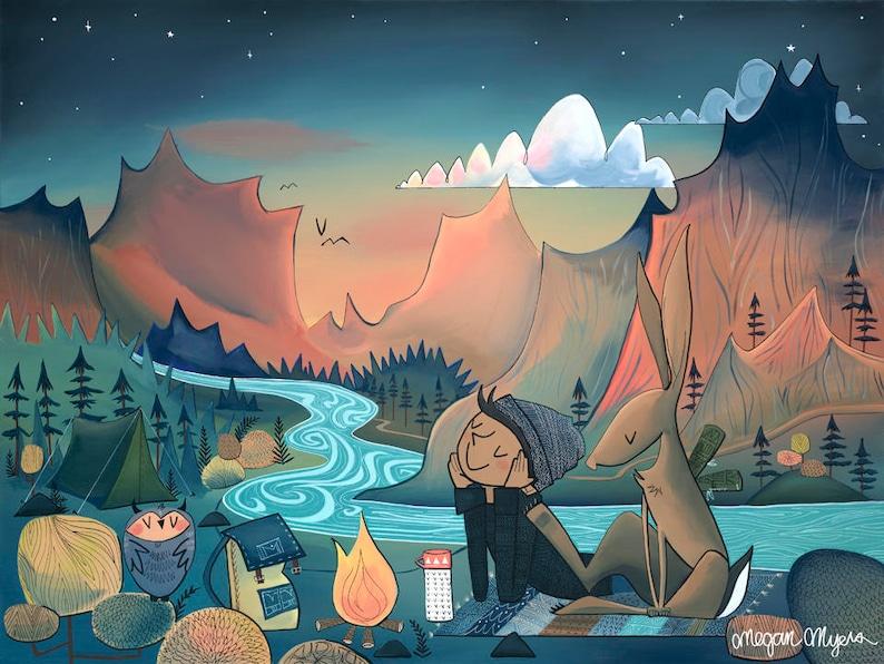 Fine Art Print  Campfire boy and jackrabbit with starry sky image 0