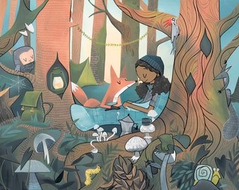 NEW! Fine Art Print -Sleeping Bag- Camping with Fox (Design 76)