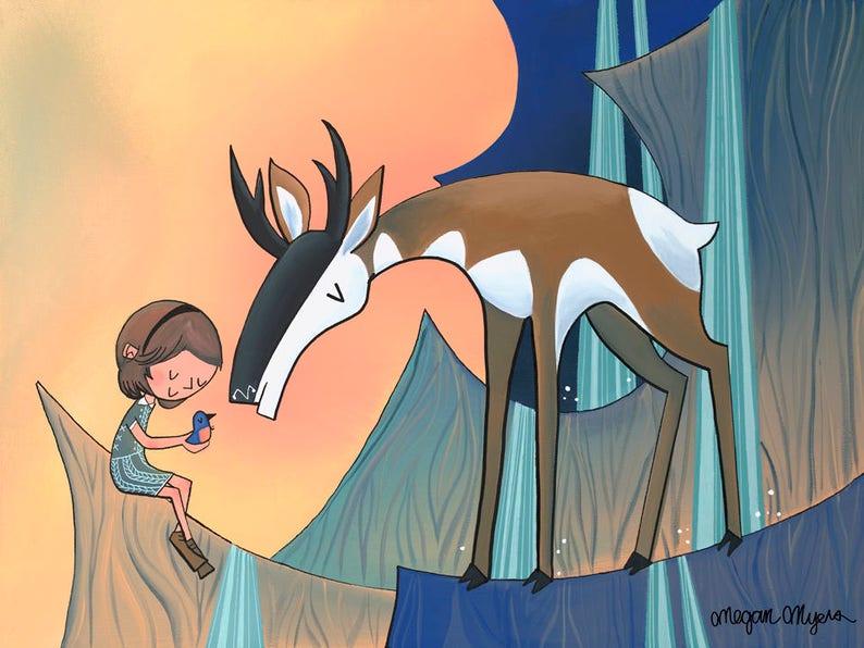 Big Fine Art Print Pronghorn Antelope and Nature Girl at Smith Rock Design 23