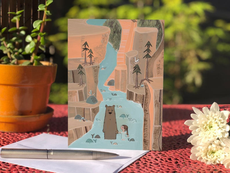 Blank card  Greeting card Bear and girl wading in canyon image 0