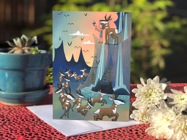 Blank card  Greeting card  Pronghorn herd & waterfalls image 0