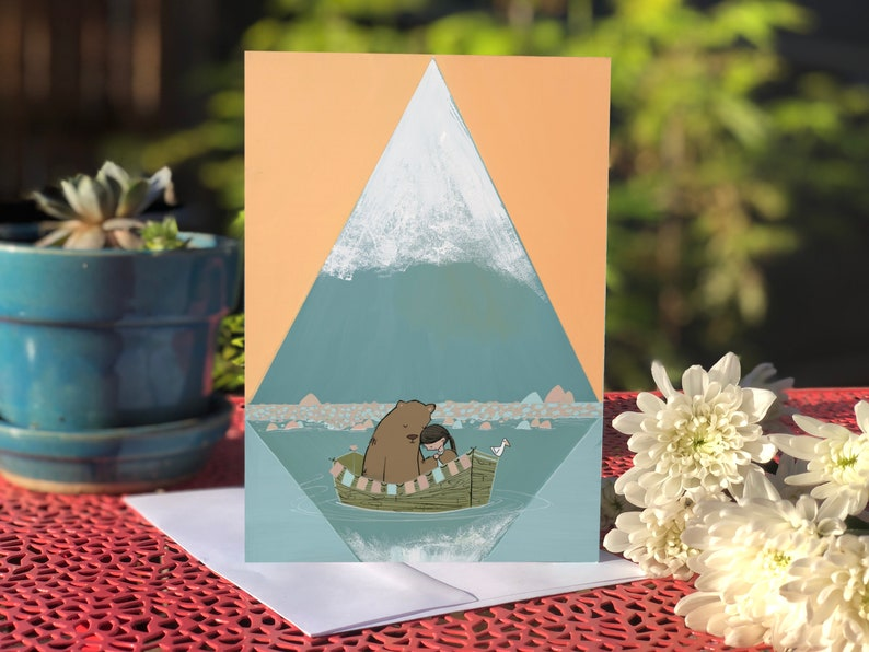 Blank card  Greeting card Bear and girl in rowboat with image 0