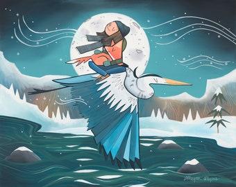 NEW! Big Fine Art Print - Winter Blue Heron - Icy flight (Design 79)