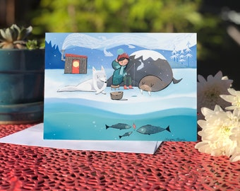 NEW! Blank card- Greeting card- Ice Fishing (Design 77)