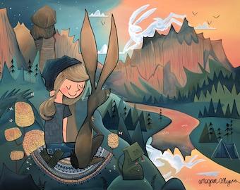 Fine Art Print - Sunset Companions, Jackrabbit and Hiker Girl (Design 33)