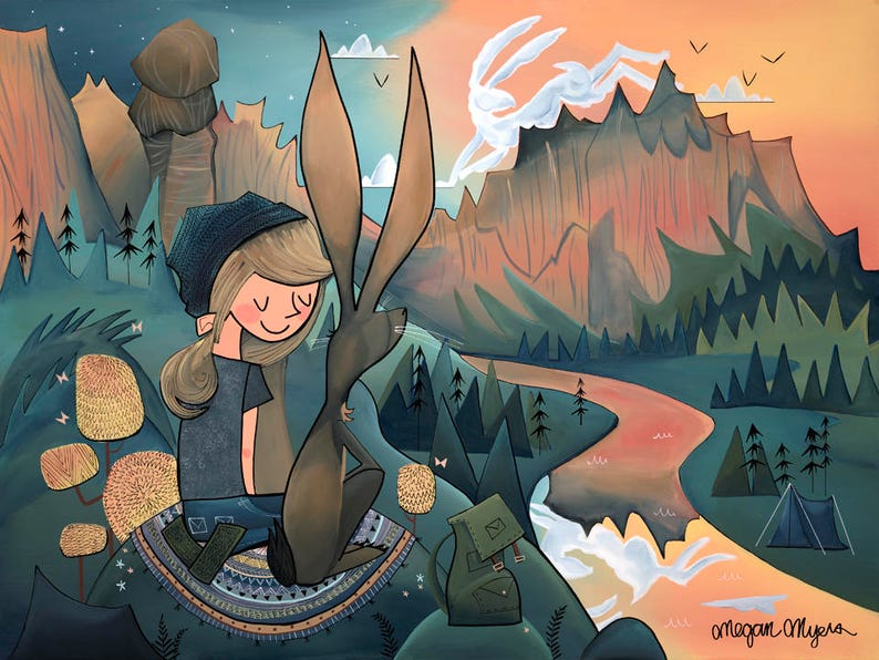 Fine Art Print  Sunset Companions Jackrabbit and Hiker Girl image 0