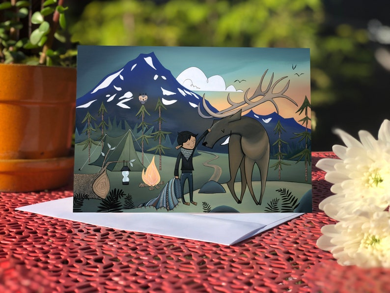 Blank card  Greeting card  Elk & Boy at mountain image 0