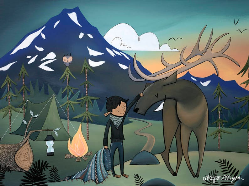 Fine Art Print  Adventure boy camping with Elk image 0