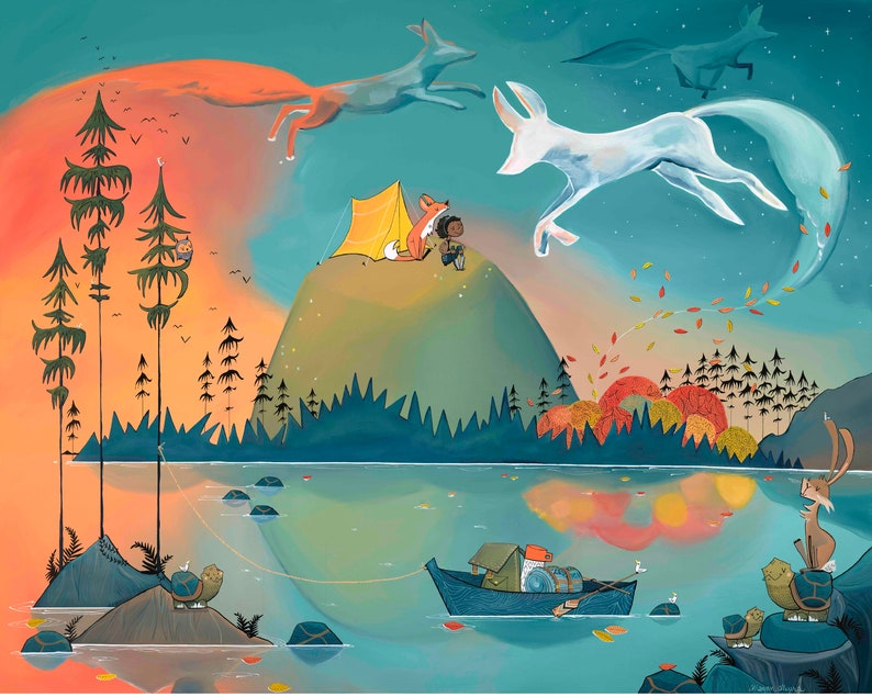 Fine Art Print   Summer camping with Smoke Foxes at Sunset image 0