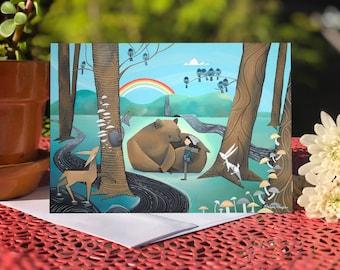 Blank card - Greeting card - Rainbow Bear and Girl (Design 64)