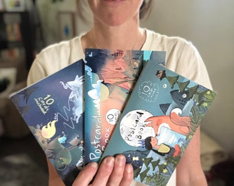 """New! Three Illustrated Postcard Books, one of each style, Variety pack - Ten cards - """"Hello from Beautiful__(fill in the blank)__"""