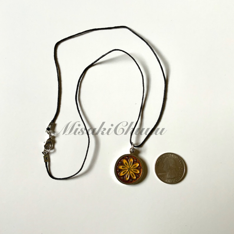 Round Flower Enamel Charm Necklace with Wax Chord Chain