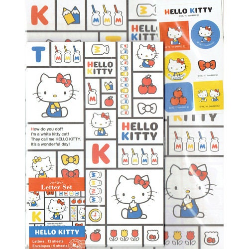 Sanrio Sanrio Hello Kitty Letter Set Square Japan Limited 12 Sheets