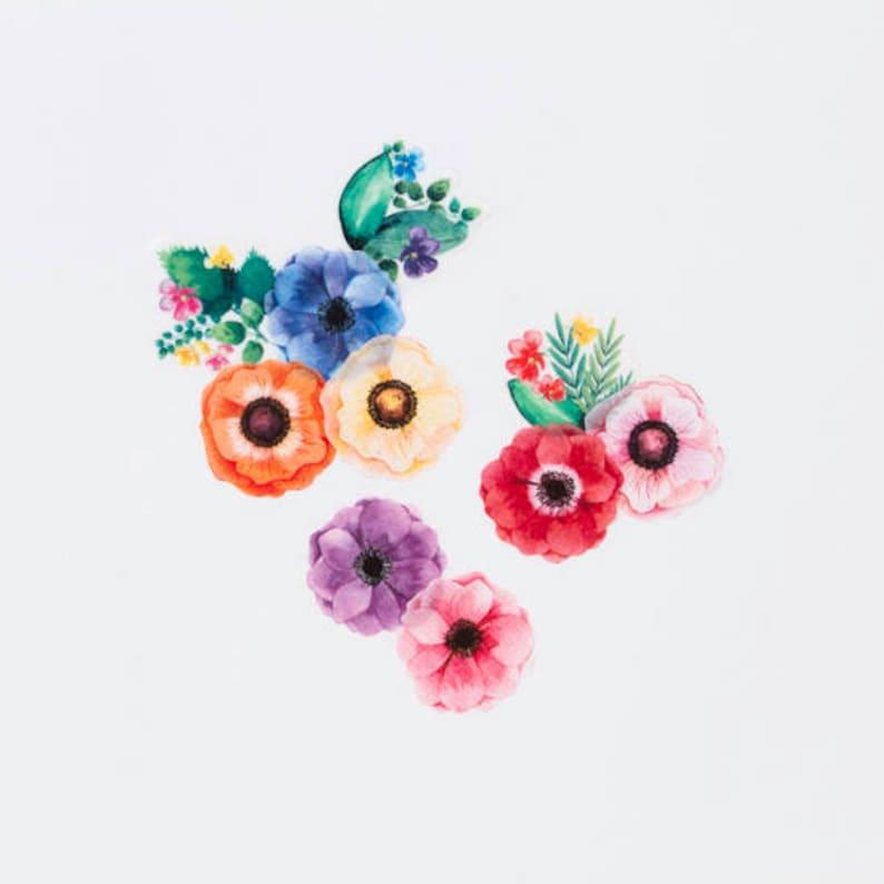 Anemones masking roll stickers washi 200pieces flower washi tape Made in Japan Bande BDA206