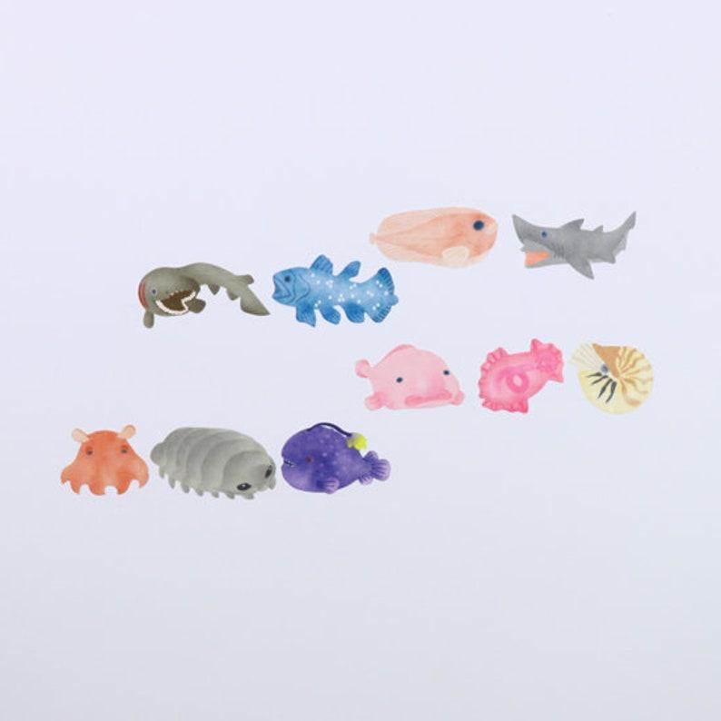 Bande BDA293 Deep sea fish masking roll stickers washi 200pieces flower washi tape Made in Japan
