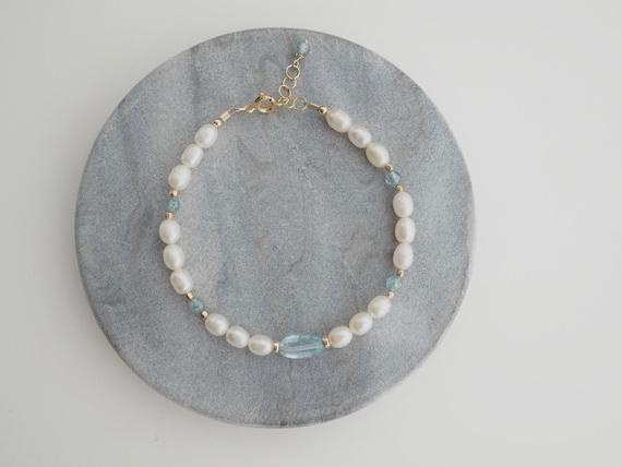 Pearl & Blue Topaz bracelet