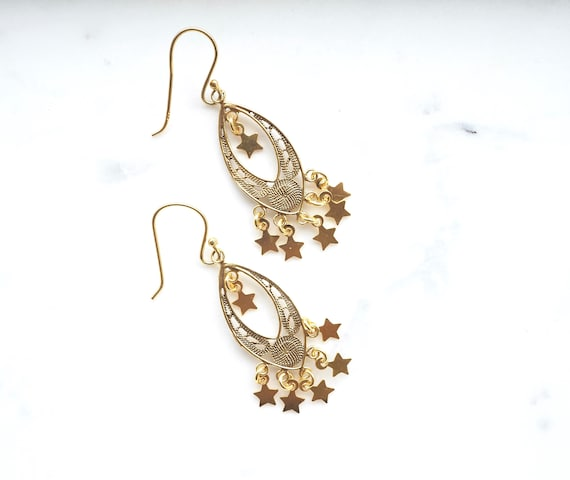Gold Star Filigree Earrings