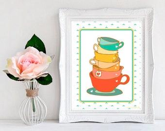 Kitchen Tea Wall Art, 8x10 Print, Stacked Tea Cup Print