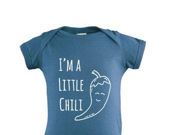 b7e019c97 I'm A Little Chili Baby Bodysuit, Sweet Screen Printed Bodysuit, 100%  Cotton, Vegetable Pun. Indigo or Pink.
