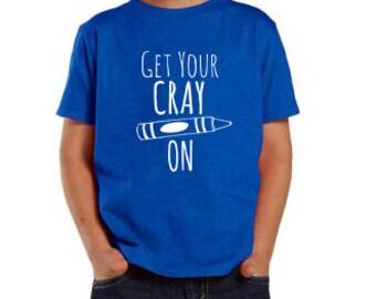 Get Your Crayon Toddler/ Kid's Tees. 100% Cotton. 2T, 3T, Fun Toddler Tee. Graphic T-Shirt.  Royal Blue