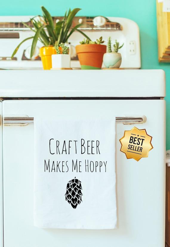 Pun ~ Gray Funny Dishcloth//Tea Towel ~ Craft Beer Makes Me Hoppy ~ Funny Kitchen Cloth