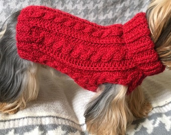 Red Wine - Cabled Dog Sweater Knitting Pattern