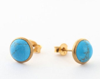 Turquoise Stud Earrings – Beautiful Turquoise Studs in 24K Gold Setting