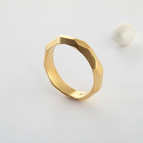 14k Gold Wedding Band Geometric Cut Plain Gold Band Ring For Etsy