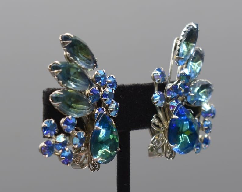 Blue Sparkling Rhinestone Earrings Clip