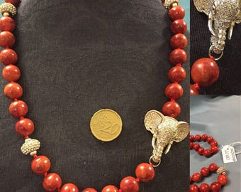 Madrepore Necklace with Elephant